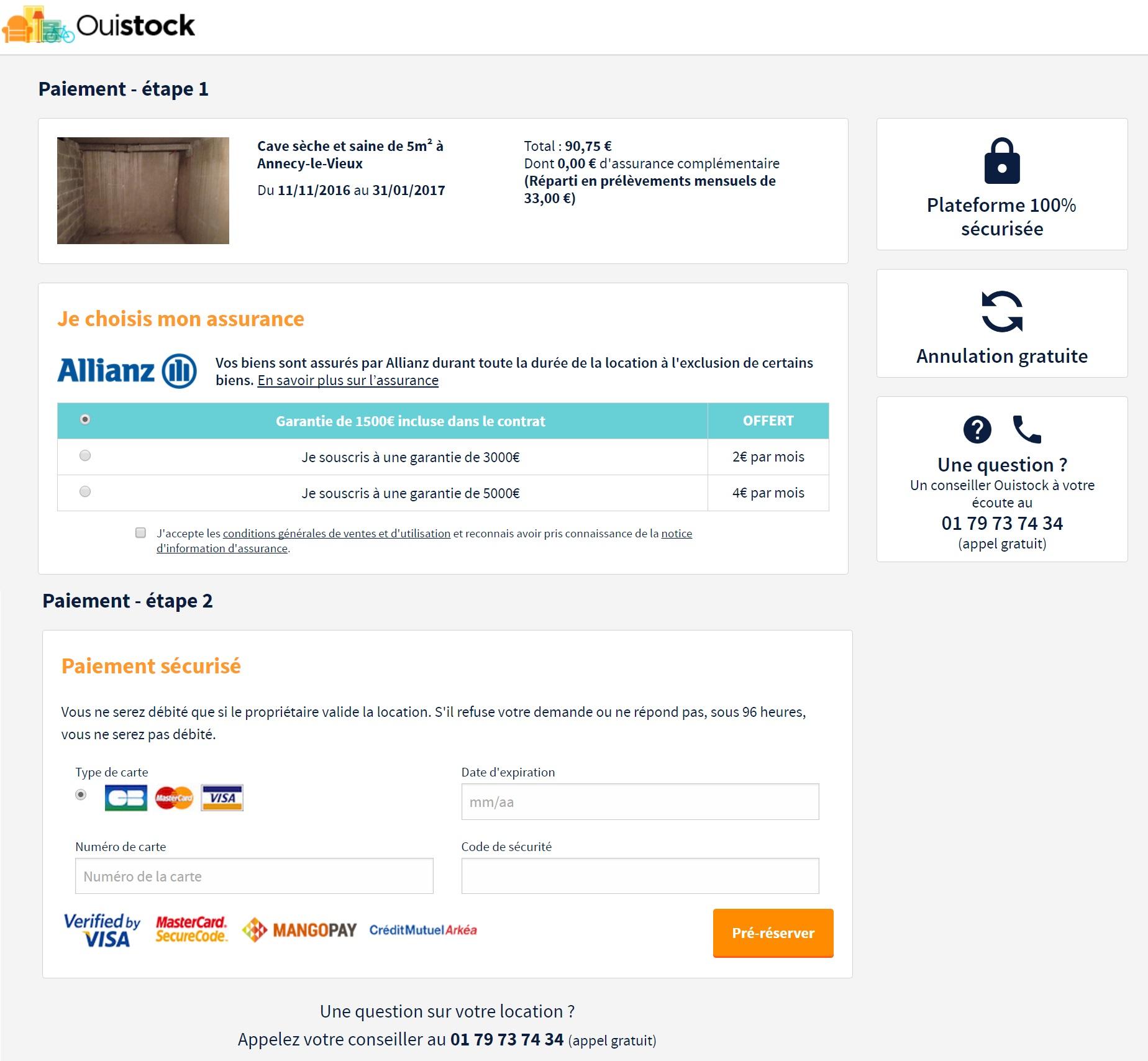 procédure de paiement sur OuiStock