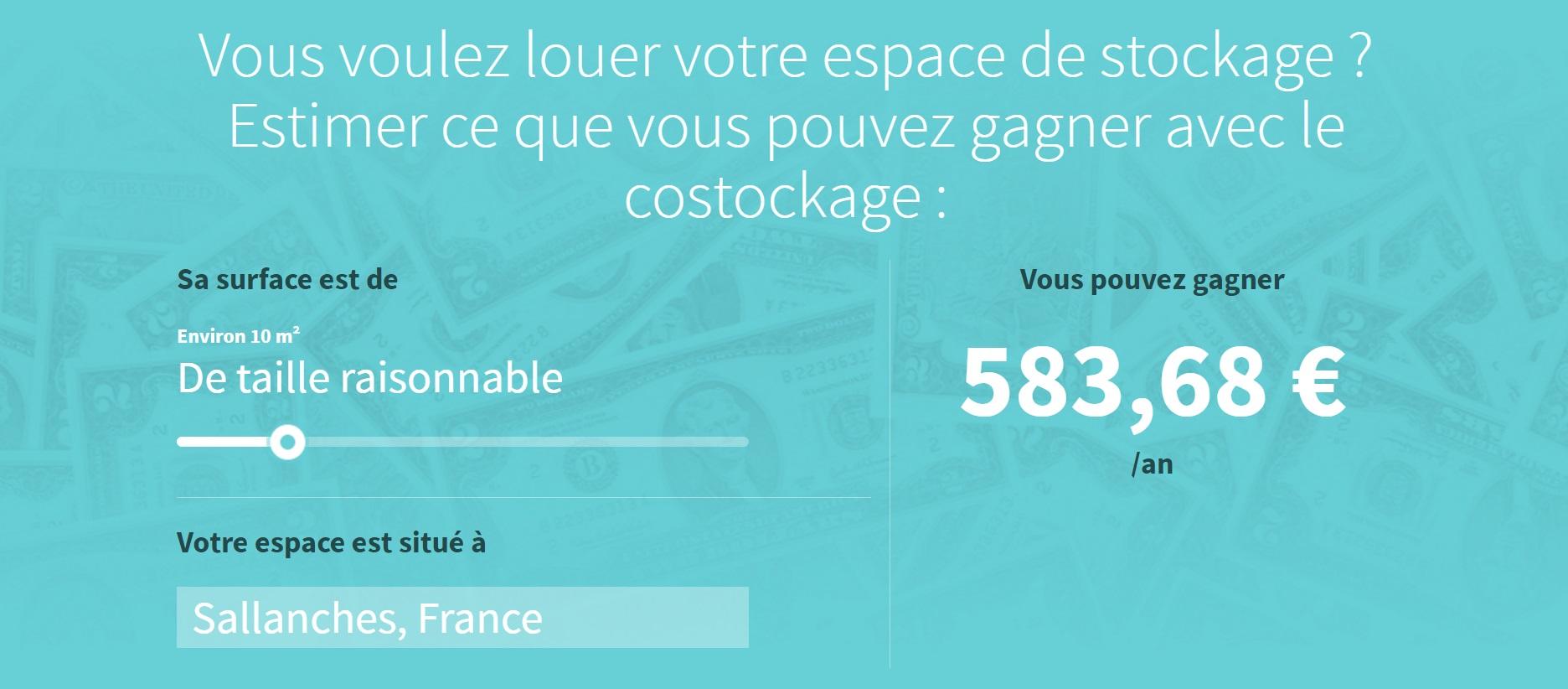 Calculateur de tarif despace de stockage sur OuiStock