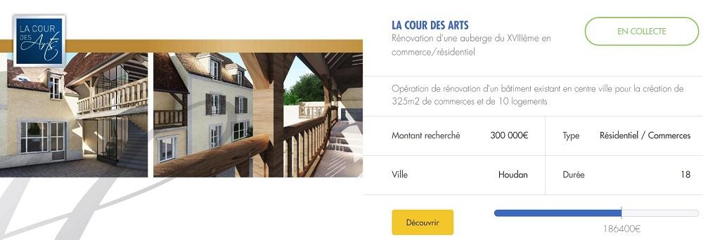 """projet immobilier """"la cour des art"""" sur Upstone"""