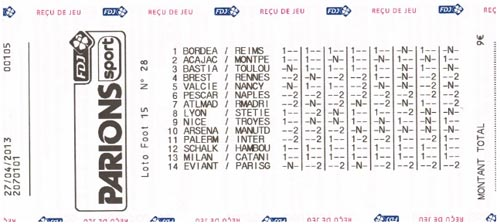 Grille Loto Foot